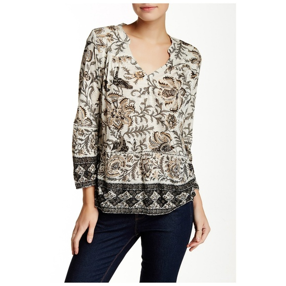 fe0ea8c3d087e Lucky Brand Tops - Lucky Brand Print Tunic Bordered 3 4 Sleeve Top L